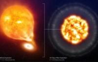Recreación artística de una supernova Ia antes de la explosión y 20 días después.