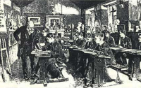 Dibujo20100415_fanciful_drawing_young_Carl_Friedrich_Gauss_receives_instruction_arithmetic_from_schoolmaster_J_G_Buttner