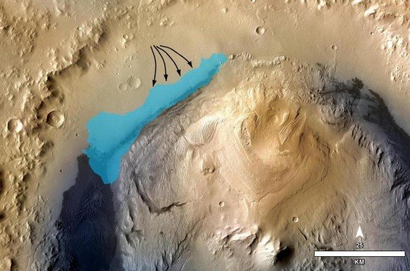 Dibujo20131209 artistic representation of possible lake in gale crater - sciencemag org