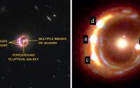 Dibujo20140307 quadruple quasar - cosmic lens reveals spinning black hole - nature com