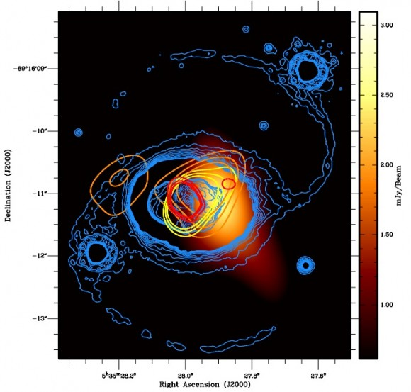 Dibujo20141130 Diffraction-limited images of SNR 1987A at 102 - 213 - 345 GHz with optical image of remnant - ApJ