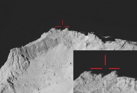 Dibujo20150130 Philae above the comet - rosetta - esa