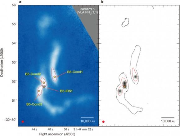 Dibujo20150222 High-angular-resolution image of dense gas and stellar progenitors - nature14166-f1