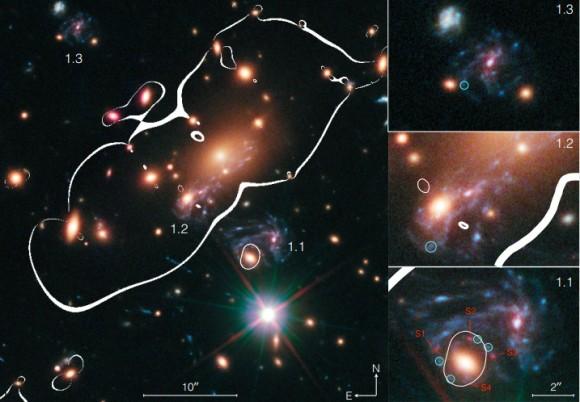 Dibujo20150306 Color-composite image of the galaxy cluster MACS J1149 6 2223 - nasa - esa