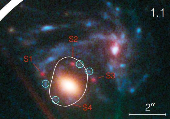 Dibujo20150306 supernova refsdal in galaxy cluster MACS J1149 6 2223 - nasa - esa