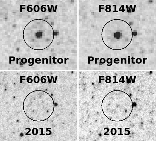 Dibujo20170609 hst f606w f814w progenitor and 2015 signals