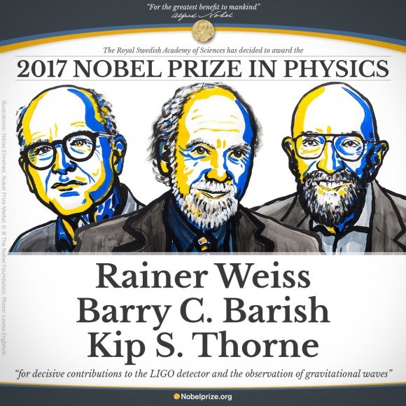 Dibujo20171003 weiss barish thorne ligo grav waves nobel prize physics 2017