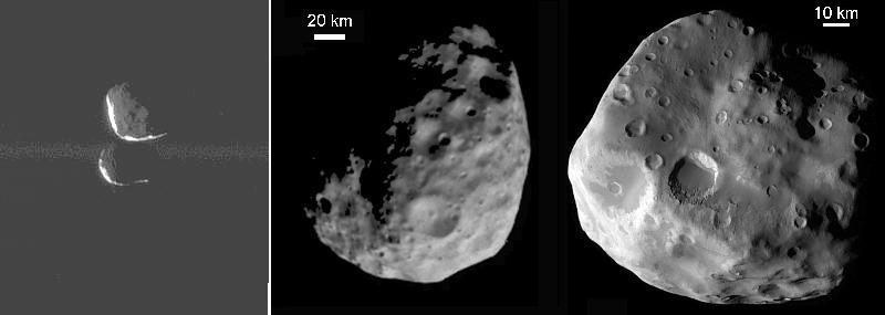 Izqiuerda: Janus (arriba) y Epimeteo (abajo); Centro: Jano; Derecha: Epimeteo. Las escalas son diferentes. (C) Cassini.