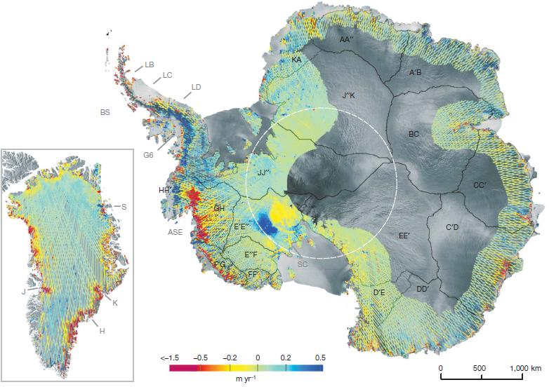 Dibujo20090923_Rate_change_surface_elevation_Antarctica_and_Greenland_over_period_2003–2007