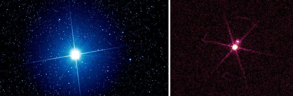 Dibujo20130127 sirius - optical -left- and Chandra x-ray -right