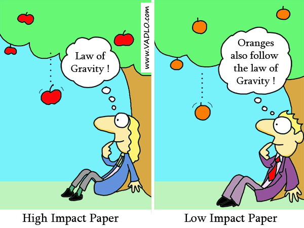 Dibujo20130328 high impact paper vs low impact paper - cartoon