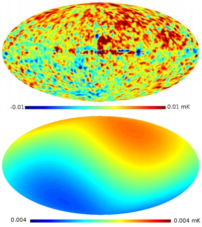 Dibujo20130704 difference map between Planck WMAP9 ILC and WMAP7 ILC - bottom dipole smoothed