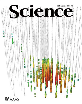 Dibujo20131122 neutrino 14 july 2011 observed in icecube - science cover - 22 nov 2013