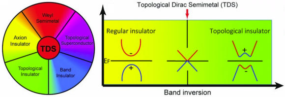 Dibujo140225 topological dirac semimetal - regular vs topological insulator - science mag