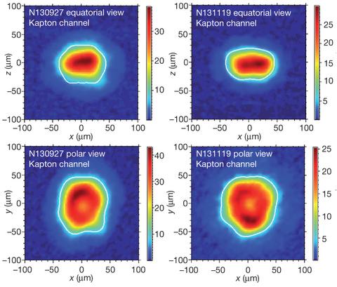 Dibujo20140212 X-ray images of the hotspot at bang-time - nif - nature