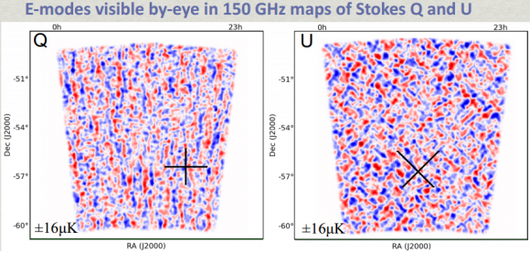 Dibujo20140403 e-mode visible by-eye 150 GHz maps Stokes Q and U - SPT polarization cmb