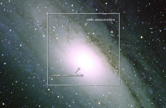 Dibujo20140528 two M31 ULXs shown on optical image - Andromeda - NASA Swift - M31 ULX optical wide