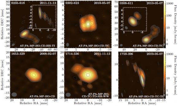 Dibujo20140620 VLBI images at 8p4 GHz  tanami blazars - arxiv