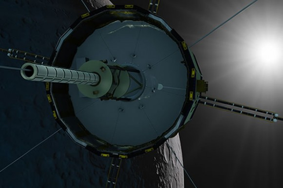 Dibujo20140706 artist rendering ISEE-3 during its planned lunar fly-by in August 2014 - Mark Maxwell - ISEE-3 Reboot Project