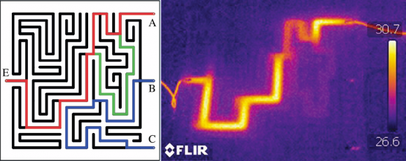 Dibujo20140716 simple maze one entrance and three exits - Thermal images circuit connected to the battery - EJP IOP