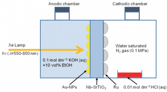 Dibujo20140904 schematic illustration of ammonia synthesis device using photoelectrode loaded with Au NPs - Angewandte Chemie
