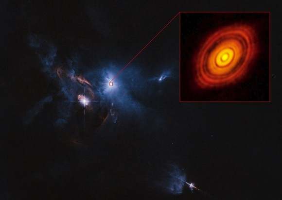 Dibujo20141106 composite image - hubble space telescope - ALMA - protoplanetary disc surrounding young star HL Tauri