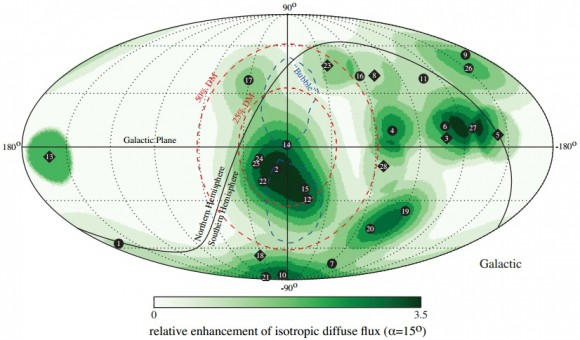Dibujo20141128 fluctuation nonisotropic diffuse flux - 15 deg around each neutrino direction in sky