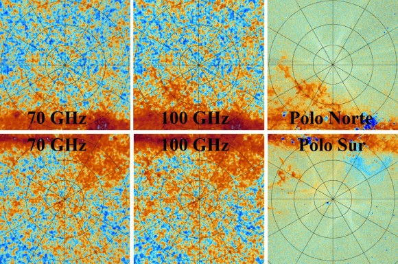 Dibujo20141216 north vs south poles - 70 vs 100 GHz maps - preliminary - planck - esa