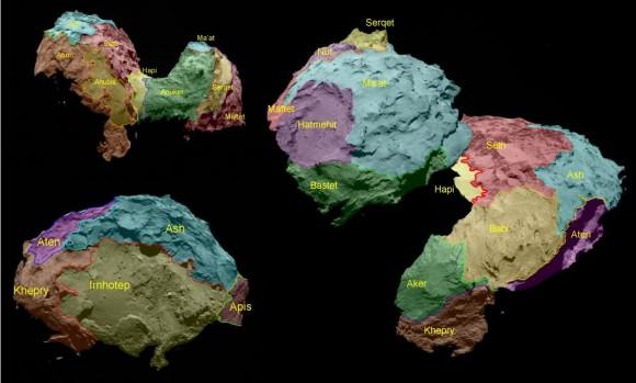 Dibujo20150130 67p comet - rosetta map - esa
