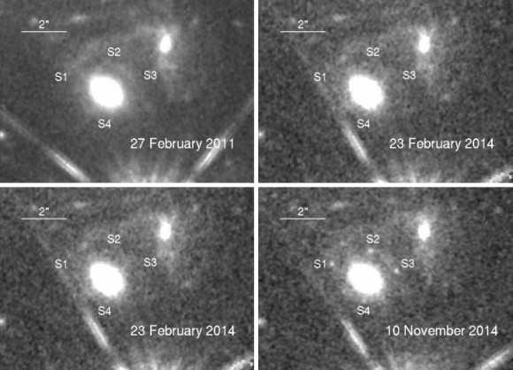 Dibujo20150306 einstein cross - 2011 2014 hubble space telescope - nasa - esa