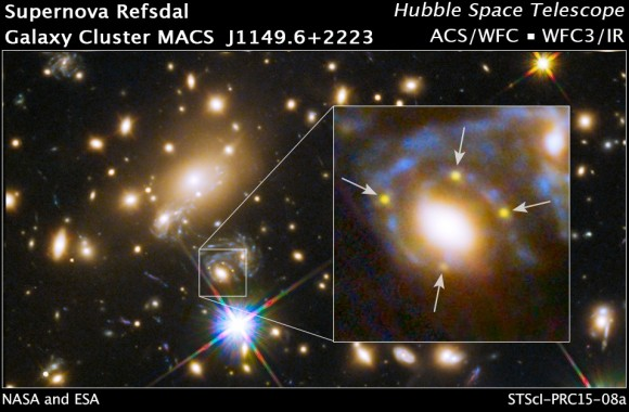 Dibujo20150306 einstein cross - hubble space telescope - galaxy cluster macs j1149 - nasa - esa