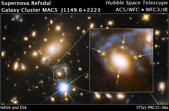 Dibujo20150306 einstein cross - hubble space telescope - galaxy cluster macs j1149 - nasa - esa