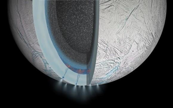 Dibujo20150313 enceladus south pole hydrothermal activity - artist impression