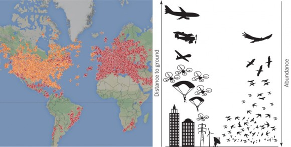 Dibujo20150503 Global distribution 8000 commercial and private aircraft in flight - Schematic distribution of human-made artifacts and relative abundance of flying vertebrates - science mag