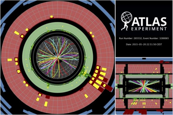 Dibujo20150521 Protons collide at 13 TeV - sending showers of particles through the ATLAS detector - atlas lhc cern