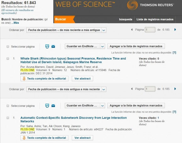 Dibujo20150617 plos one - papers 2014 - thomson reuters