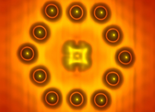 Dibujo20150720 Scanning tunneling microscope image of a phthalocyanine molecule centered within a hexagon assembled from twelve indium atoms on an indium arsenide surface