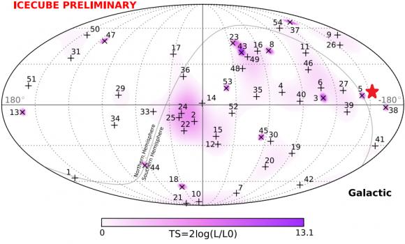 Dibujo20150803 sky positions - 53 muon neutrinos - ice cube
