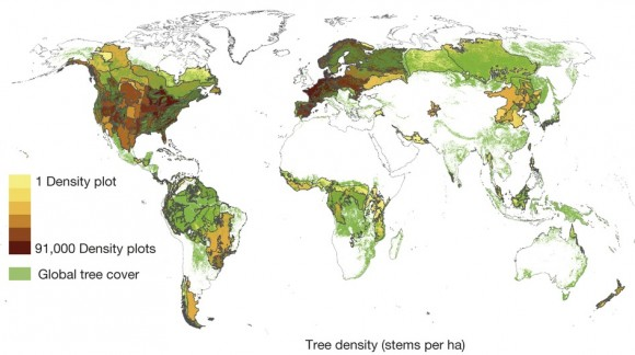 Dibujo20150905 Map of data points and raw biome-level forest density data - nature14967-f1
