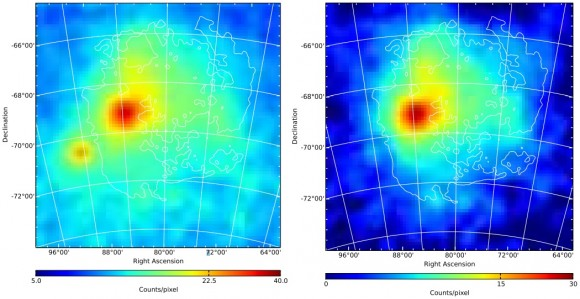 Dibujo20151113 fermi lat LMC map in 1-100 GeV band and residual counts maps