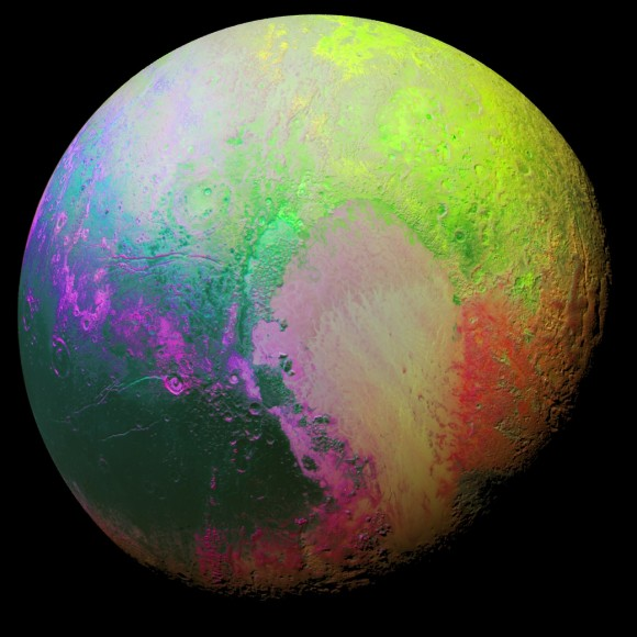 Dibujo20151127 false color image pluto new horizons nasa