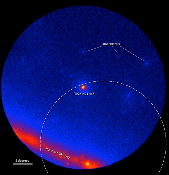 Dibujo20160505 pks b1424-418 blazar NASA DOE LAT Fermi Collaboration