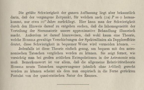 Dibujo20170128 einstein 1931 cosmological paper last paragraphs