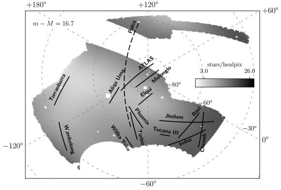 Dibujo20180110 11 stellar streams in Milky wave Dark Energy Survey darkenergysurvey org