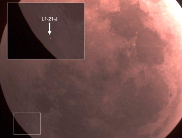 El meteoroide que impactó en la Luna durante el eclipse lunar del 21 de enero de 2019