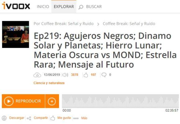 Podcast CB S&R 219: Agujero negro Sgr A*, dinamo solar, materia oscura y otras noticias