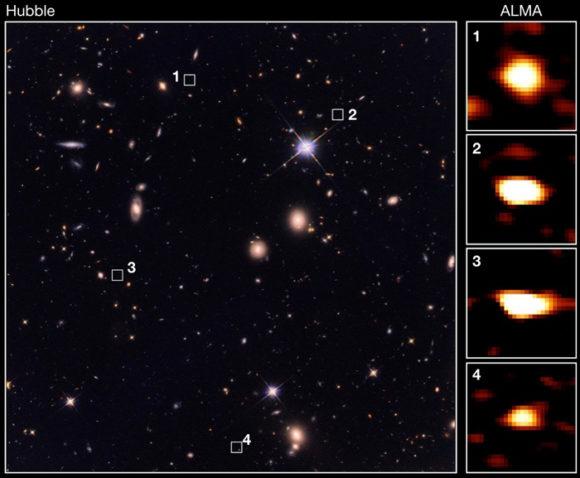 ALMA observa 39 galaxias con z > 3 más grandes de lo esperado