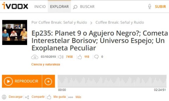 Podcast CB SyR 235: Planeta 9, cometa interestelar, exoplaneta peculiar y más noticias