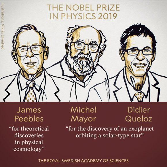 Premio Nobel de Física 2019: James Peebles (cosmología teórica) y Michel Mayor y Didier Queloz (exoplanetas)