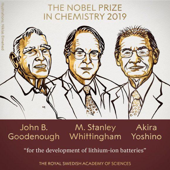 Premio Nobel de Química 2019: Goodenough, Whittingham y Yoshino por las baterías de ión-litio